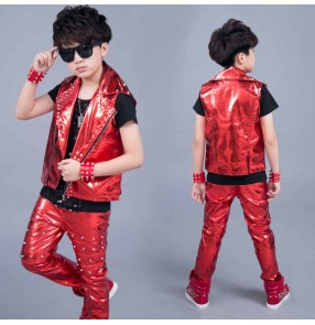 Children boys jazz dance costumes red  pu leather drum performance gogo dancers costume boy suit Leather rivet vest stage hip-hop model show performance waistcoats pants