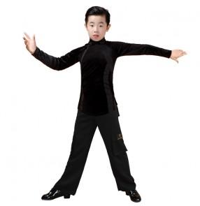 Children boys Latin dance costume boy velvet long-sleeved Latin shirts wide leg pocket latin pants exercise and dance clothes