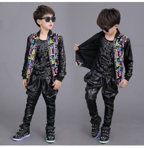 Children boys rainbow sequined jazz hiphop dance costumes drum performance outfits jackets pants kids street dance T stage catwalk fashion model show tide clothes set