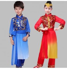 Children chinese folk dance costume red royal blue drummer performance dresses martial art performance clothes for boy girls