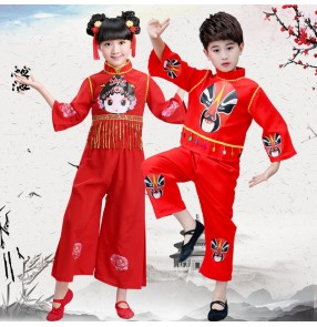 Children chinese folk dance costumes boy girls Pecking opera drama cosplay costumes