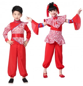 Children Chinese folk dance costumes boys girls ancient traditional stage performance yangko drummer cosplay new celebration dresses