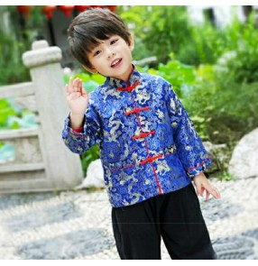 children chinese folk dance costumes dragon pattern boys girls jackets tang suit