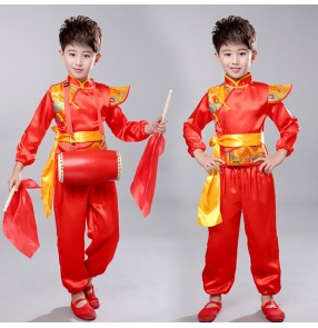 Children chinese folk dance costumes for dragon style girls boys stage performance yangko drummer new year celebration cosplay dresses clothes