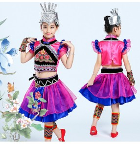 Children Chinese folk dance costumes girls ancient traditional Hmong miao minority stage performance dresses