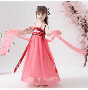Children chinese folk dance costumes girls hanfu ancient fairy dress anime cosplay dress princess traditional dance dress