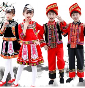 Children chinese folk dance costumes hmong miao minority dance clothing for boy girls photos hmong shooting costumes for kids