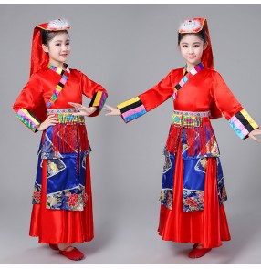 Children chinese folk dance costumes minority Tibetan dance costumes Girls Tibetan Mongolian stage performance robes