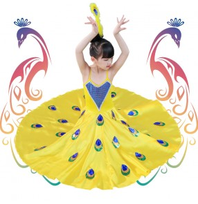 Children chinese folk dance costumes peacock dance skirts modern dance dresses dai minority thailand style performance dresses for girls