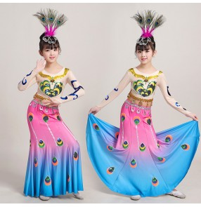 Children chinese folk dance costumes traditional Thailand minority ethnic peacock dance dress mermaid fishtail skirts costumes for girls