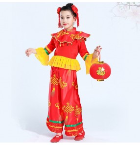 Children Chinese folk dance costumes yangko fan new year celebration drummer carnival stage performance costumes dresses