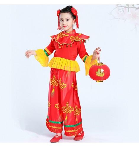1c61e01a5 Children Chinese folk dance costumes yangko fan new year ...