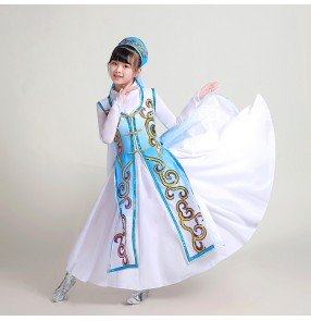 Children Chinese folk dance dresses blue mongolian dance dresses for girls Xinjiang dance costumes girls kindergarten dance Uyghur costumes Kazakh Hui dance dresses