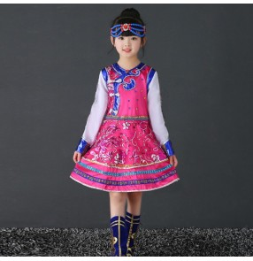 Children Chinese folk Mongolian dance costumes for girls kids fuchsia colored ancient traditional stage performance robes dresses