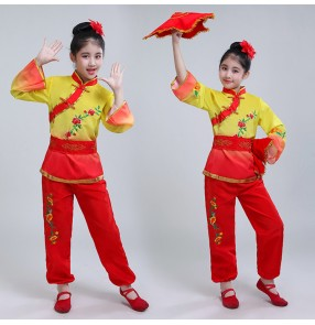 Children Chinese folk yangko fan dance costumes for girls fairy stage performance traditional red with yellow dance clothes dresses