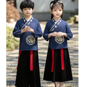 Children chinese hanfu costumes tang suit Chinese learning uniform Chinese style primary school students boys and girls confucius three-character classic performance costume