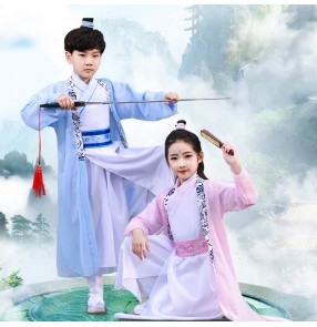 Children chinese Hanfu fairy princess swordsman photos shooting drama cosplay stage performance robes for girls and boys