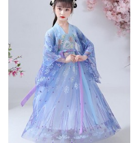Children chinese Hanfu Girl Ancient tang dynasty Costume Fairy princess Skirt Chinese Style Tang Costume chinese fairy Dress kimono dress