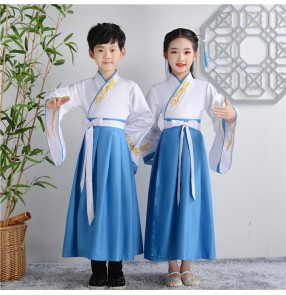 Children chinese hanfu traditional ancient classical princess fairy performance cosplay kimono dresses for boy and girls