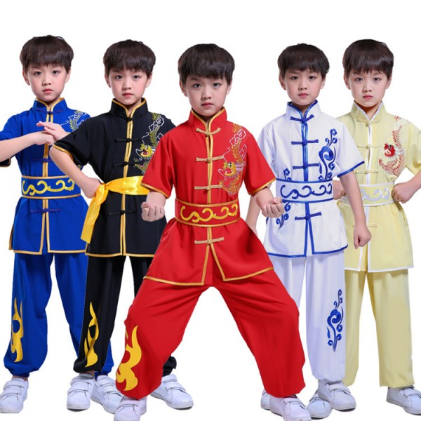 Children Chinese traditional dragon wushu kungfu uniforms boys kids  children school stage performance tacihi martial costumes suits