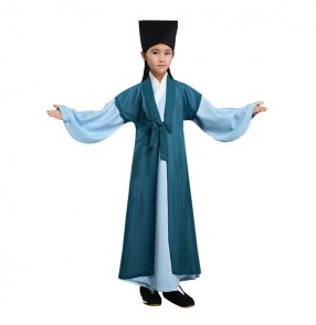 Children Chinese traditional Hanfu boys girls stage performance Confucius school scholar drama cosplay robes costumes