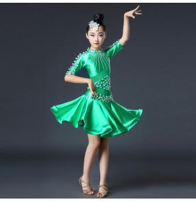 Children competition latin dancing dresses for girls dark green orange coral stage performance professional samba chacha rumba dancing skirts