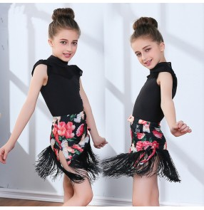 Children competition stage performance rose printed latin dance dresses stage performance rumba samba chacha dance dress
