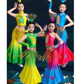 Children Dai Dance Performance Costume Girls pink blue yellow gradient color peacock dance dress ethnic minority belly dance fishtail skirt
