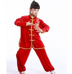 Children dragon martial art wushu performance clothing for girls boys red black velvet taichi school kungfu martial art wushu performance uniforms suit for kids