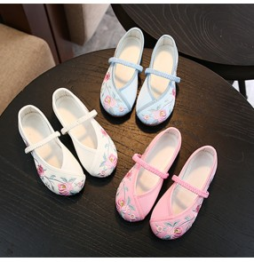 Children embroidered hanfu fairy performance dresses shoes Tang Han empress princess film cosplay pecking clothing shoes flats for kids