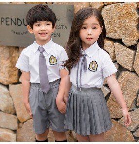 Children England style school uniforms for boy girls kindergarten primarty school chorus stage performance photos shooting costumes