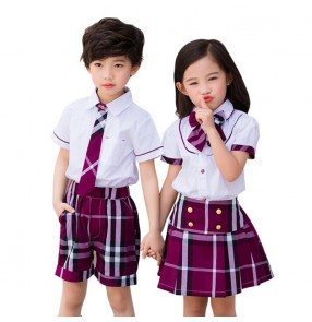 Children England style summer school uniforms chorus performance costumes kids Plaid Skirt Performance Costumes Japanese Style uniforms