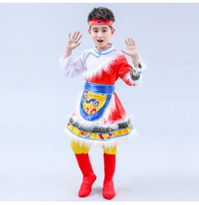 Children ethnic minority Mongolian clothing for boys Tibetan dance clothes Mongolia performance costumes Tibetan dance dresses