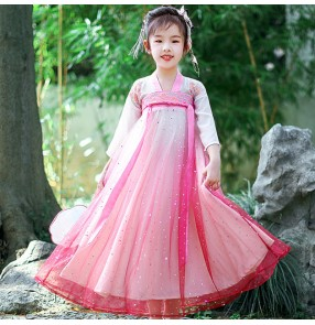 Children fairy pink hanfu chinese folk dance costumes ancient traditional princess drama fairy party cosplay dress