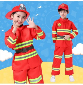 Children firefighter costume boy girls firefighter professional role-playing performance clothing kindergarten firefighting clothing suit