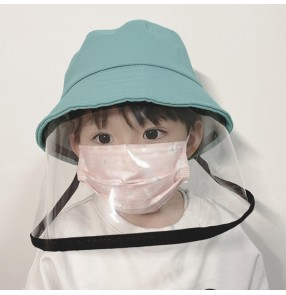 Children fisherman's cap with safety face shield TPU full face mask anti-spitting virus dust proof sunhats