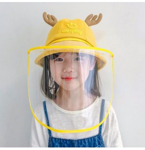 Children Fisherman's Cap With TPU Face Shield Sheet Saliva Protection Anti- Droplet Cap With Visor Protective Cap