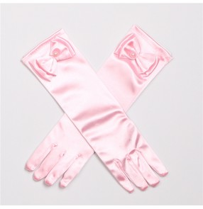 Children flower girls satin long length gloves girls princess cosplay model show chorus choir performance dress gloves