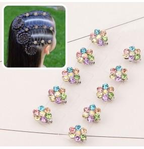 Children girl princess fairy dress bling hairpin barrette peas buckle rhinestone plum blossom hair accessories 10pcs mini hair buckle small clip