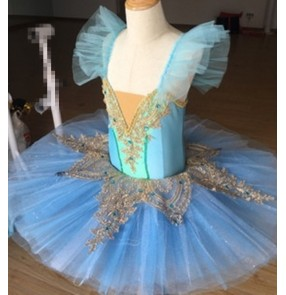 Children girls ballet modern dance dresses blue children tutu skirt ballerina competition swan lake performance dresses