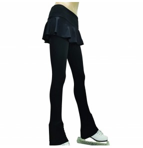 Children girls black color figure skating training pants girls figure skating training costumes drop-resistant diaper skirt pants for children