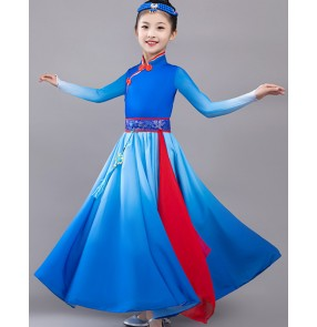 Children Girls blue colored Mongolian dance costumes Mongolia Big swing skirt performance suit for ethnic Mongolia dance clothes