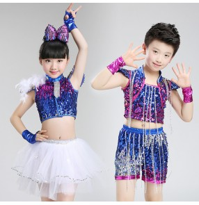 Children girls boys modern dance sequin jazz dance costumes royal blue kids singers cheerleaders hiphop stage performance outfits
