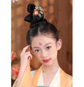 Children Girls chinese ancient hanfu folk costume cosplay wig fairy princess drama cosplay performance Hair Bun Tang Ming Song  fairy Hair Bun for kids