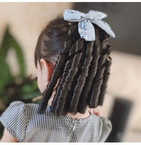 Children Girls chinese qipao dress cosplay wig retro republic china style photos shooting curly ponytail hair Baby princess Retro style bow hair jewelry hair clip