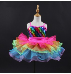 Children girls colorful Rainbow colored ballet dance dress kids tutu skirt birthday party gift dress Stage modern dance ballet princess performance outfit