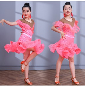 Children girls coral white colored lace latin dance dresses modern dance samba salsa chacha rumba dance skirts dresses