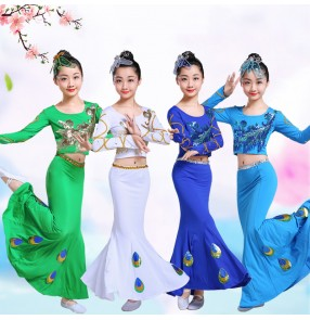 Children girls Dai Dance Costumes Peacock Dance Performance Costumes for Girls Children Mermaid long skirts belly dance costumes for kids