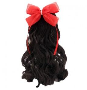 Children Girls fairy princess singers jazz dance hair accessories catwalk piano performance bowknot braid curly ponytail for kids