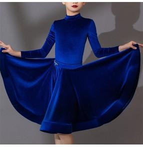 Children girls gold royal blue red black velvet competition ballroom latin dance dress long sleeves modern rumba salsa latin dance costumes